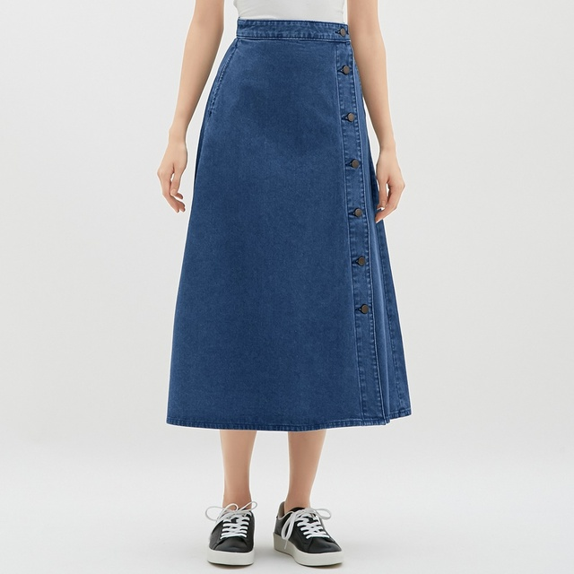 GUデニムサイドボタンロングスカート