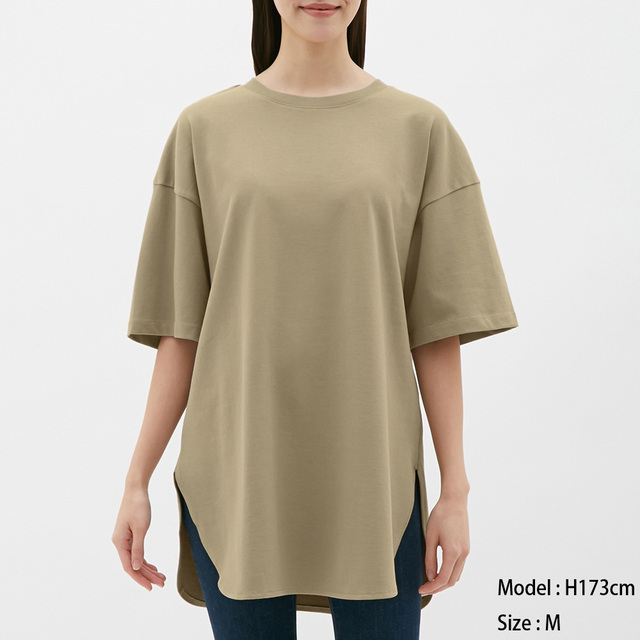 GUヘビーウェイトオーバーサイズT(5分袖)