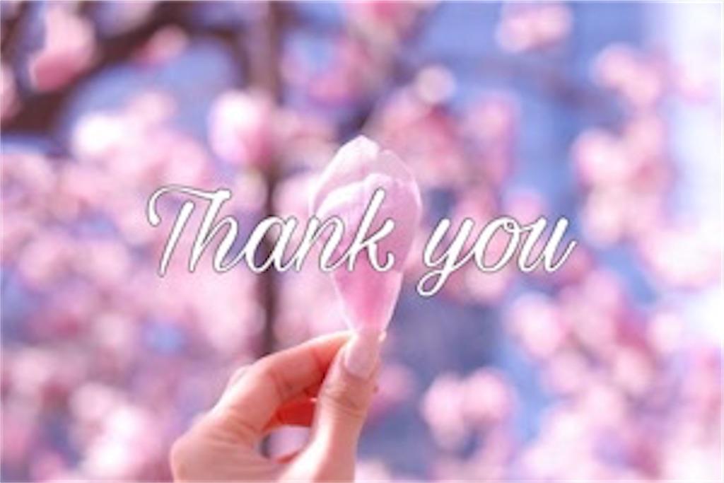 桜の花びらを持っている手とありがとうの文字