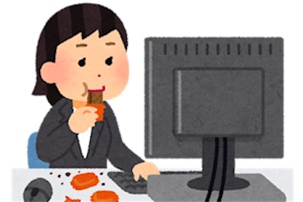 パソコンを見ながらお菓子を食べる女性のイラスト