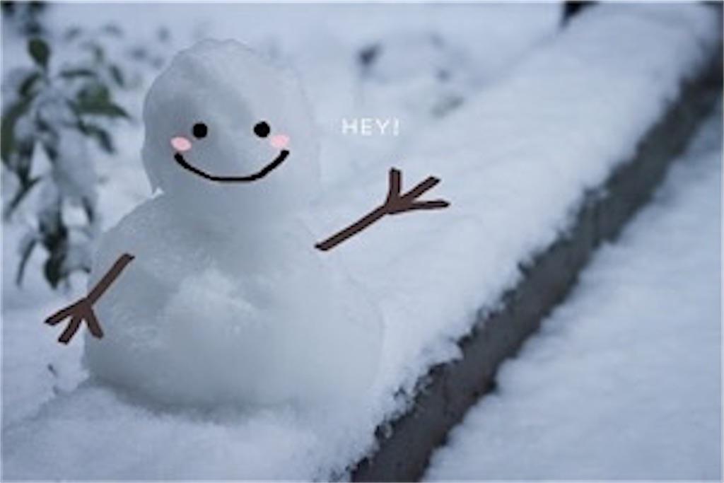 笑顔の雪だるまが挨拶をしている