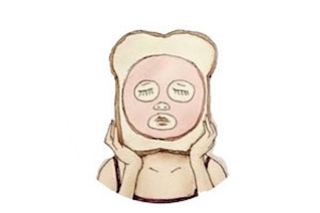 食パンにハムのパックをしている女性のイラスト