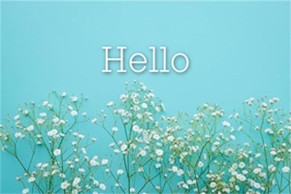 水色の背景に白いお花とこんにちはの文字
