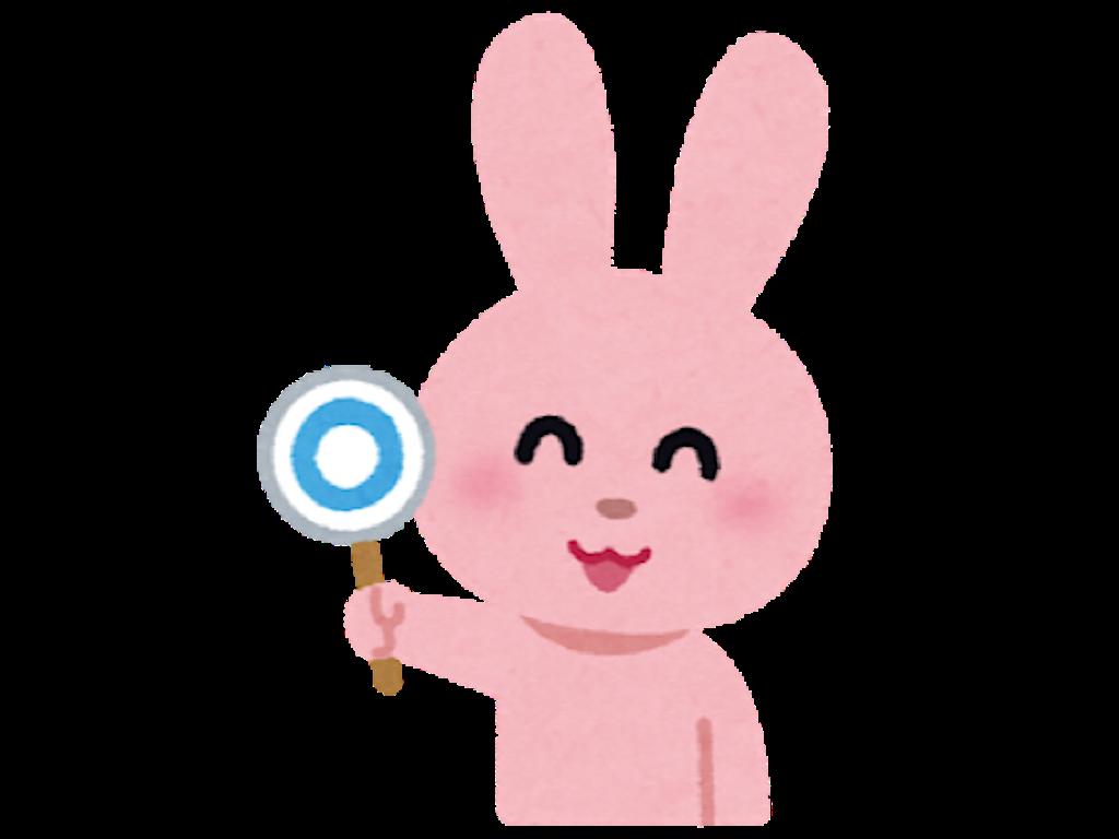 〇を示しているウサギのキャラクターのイラスト