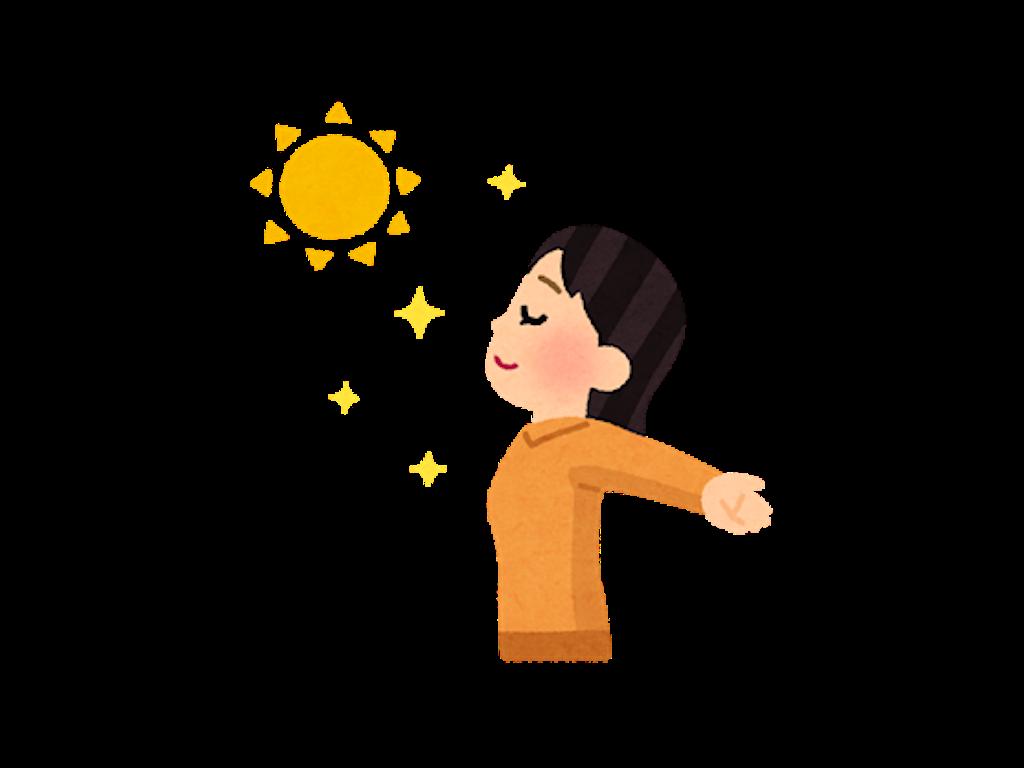 日光浴をしている女性のイラスト