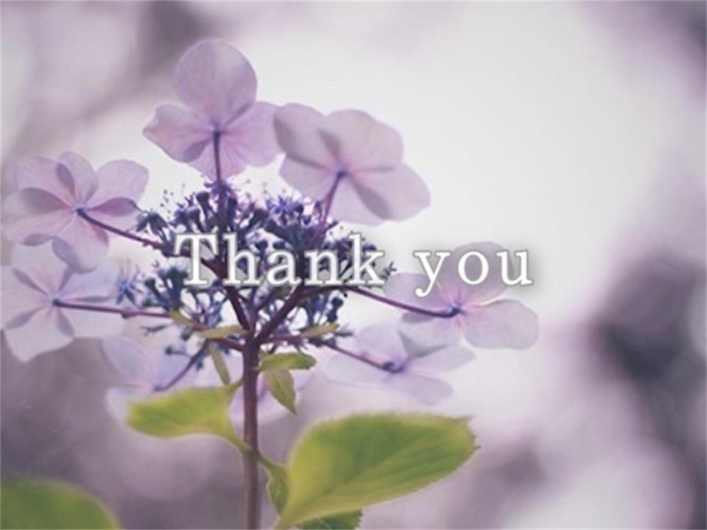 紫色のアジサイとありがとうの文字