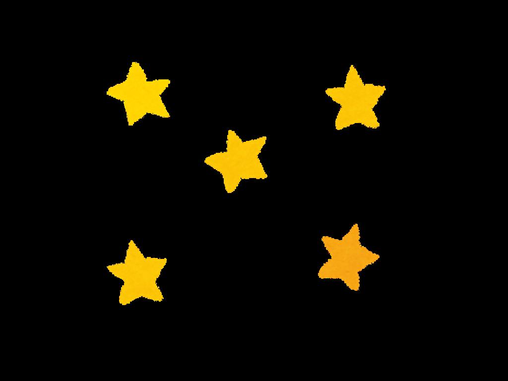5つの黄色い星のイラスト