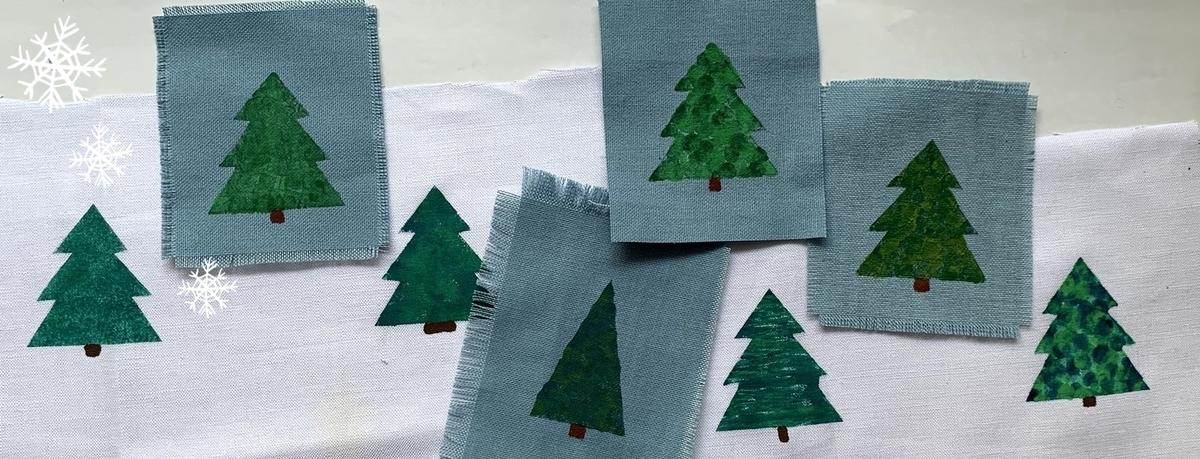 マスキングテープで型をとりステンシルしたツリー