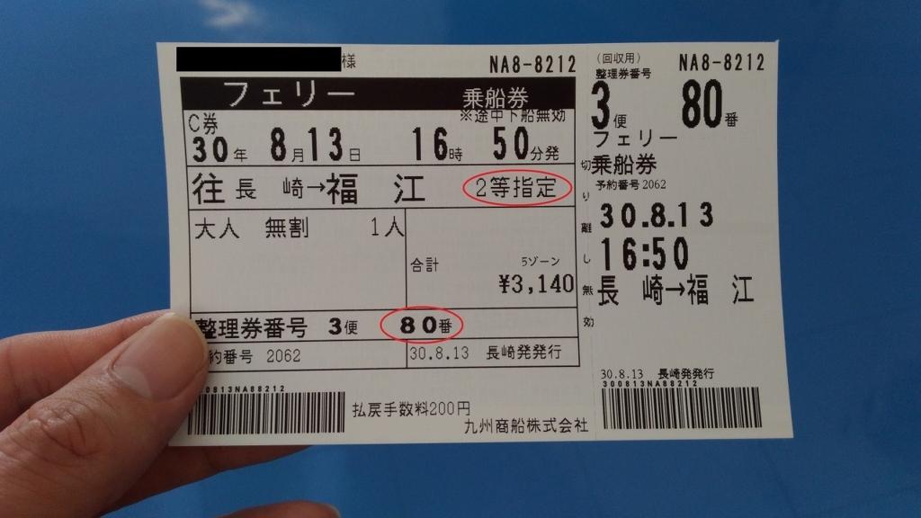 フェリーの2等指定の乗船券