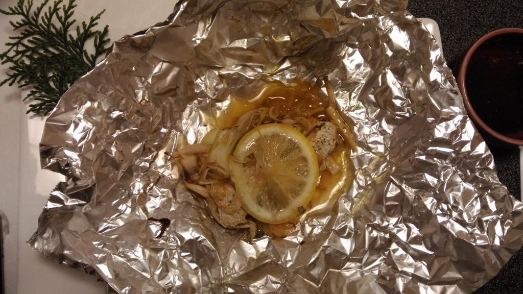西洋風の魚のホイル焼き