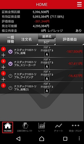 トライオートETFのアプリのHOME画面