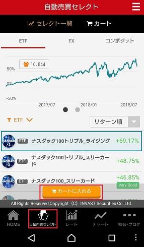 トライオートETFアプリの自動売買セレクト画面