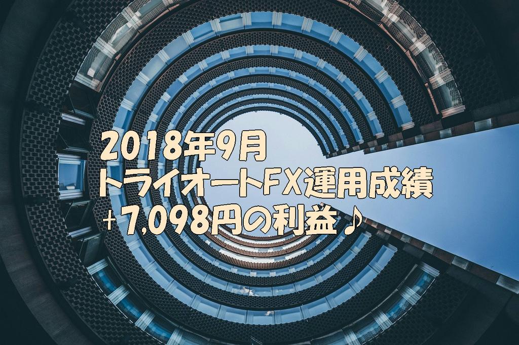 2018年9月トライオートFX運用成績+7,098円の利益♪