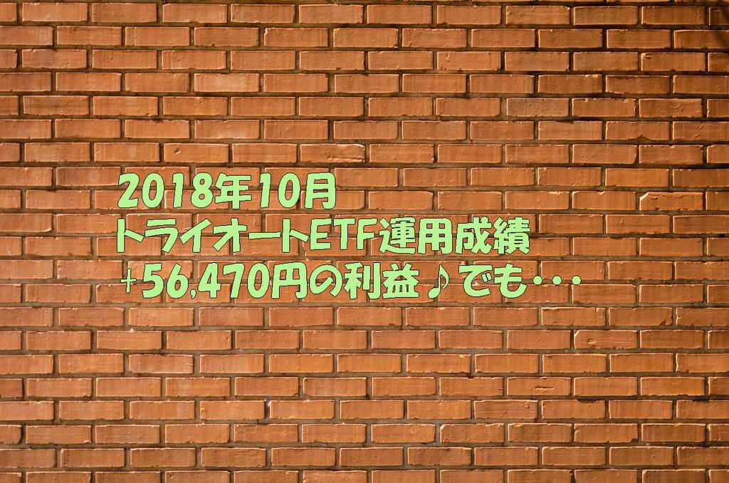 2018年10月のトライオートETF運用成績+56,470円の利益♪でも・・・