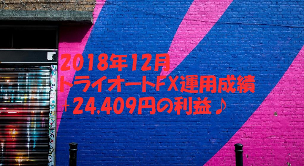 2018年12月トライオートFX運用成績+24,409円の利益♪