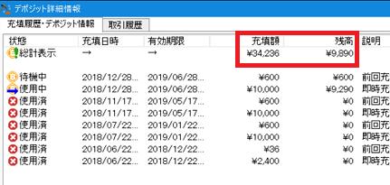 2019年1月の『BitArbitrager』の手数料つまりデポジットの補充額と残高