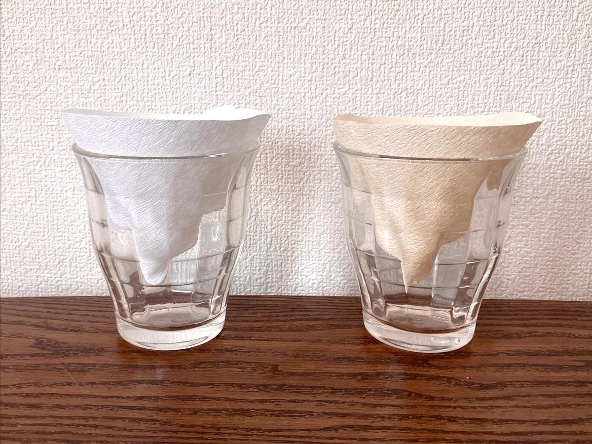 コーヒーフィルターの匂い移り実験。白と茶色を比較