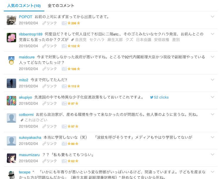 麻生氏の発言ニュースに対する、はてブのコメント欄