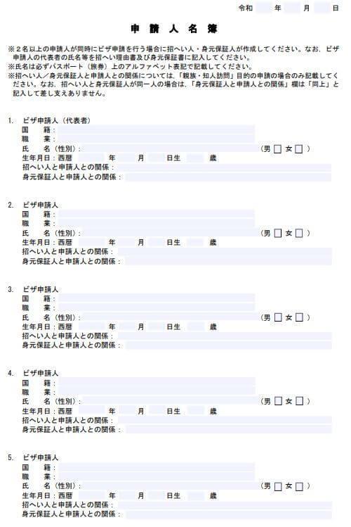 申請人名簿