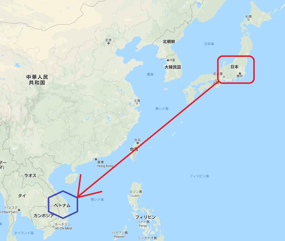 日本からベトナムの距離イメージ図
