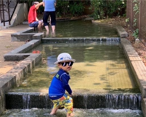 三田丘の上公園で水遊び