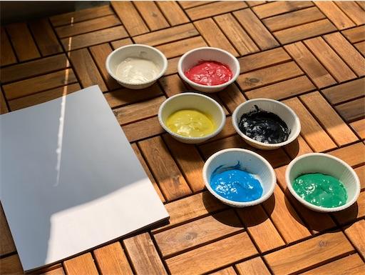 フィンガーペイント用の手作り絵の具