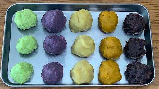 5種類の餡(ずんだ餡,かぼちゃ餡,さつまいも餡,紫いも餡,小豆餡)