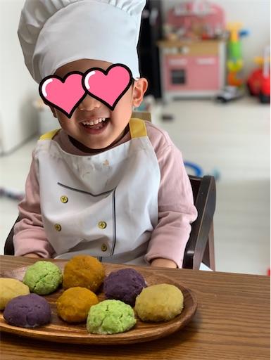 手作りぼた餅と子ども