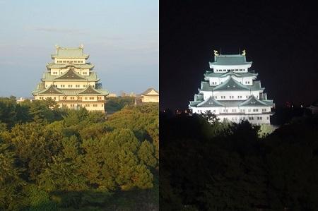 ライトアップされた名古屋城