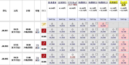 JAL便予約詳細
