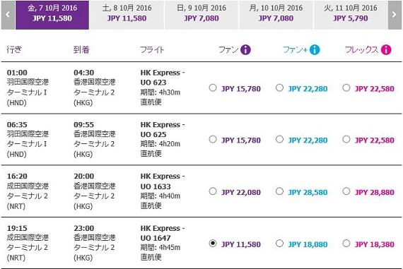 香港エクスプレスセールの価格