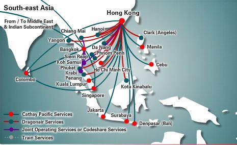 キャセイパシフィックの香港発の便