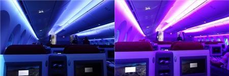 ラン航空の色んな機内照明