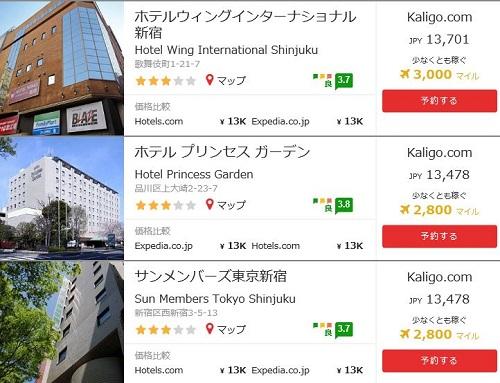 kaligoでホテルを調査