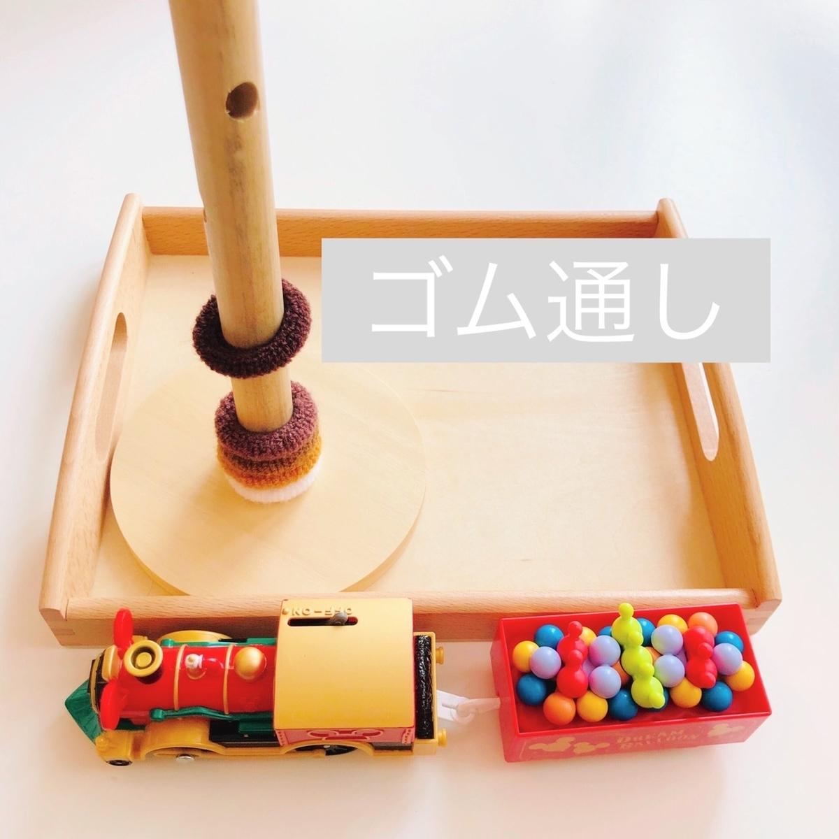 ゴム通しのおもちゃを上から撮影した写真