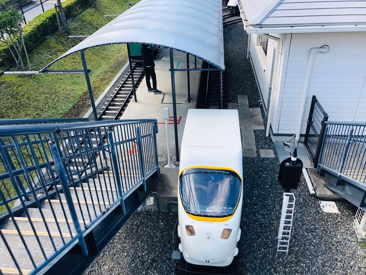 885系かもめのミニ列車を上から撮影した写真
