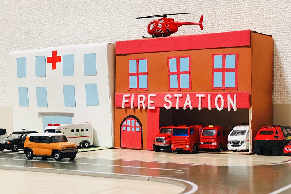 完成した『病院』と『消防署』を正面から撮影した写真
