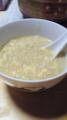 本日のお粥。ごま油とニンニクの漬け汁を入れてパンチのある感じに。