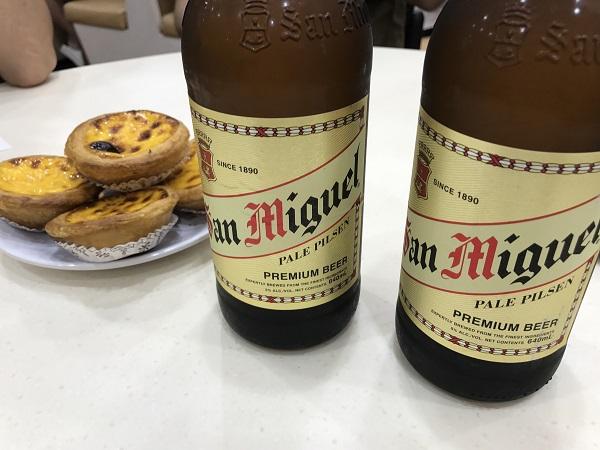 エッグタルトとビール