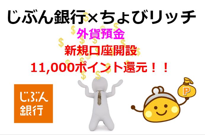 外貨預金を始めるなら「じぶん銀行×ちょびリッチ」で11,000ポイント還元がお得!!