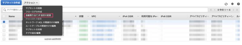 EC2の一覧(自動IP割り当て)