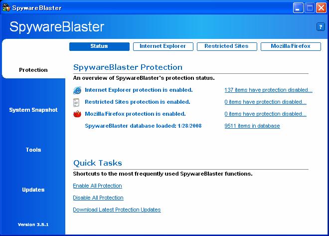 SpywareBlaster Latest Definitions: 1/28/2008