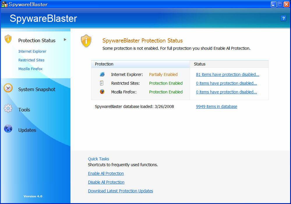 SpywareBlaster Latest Definitions: 3/26/2008