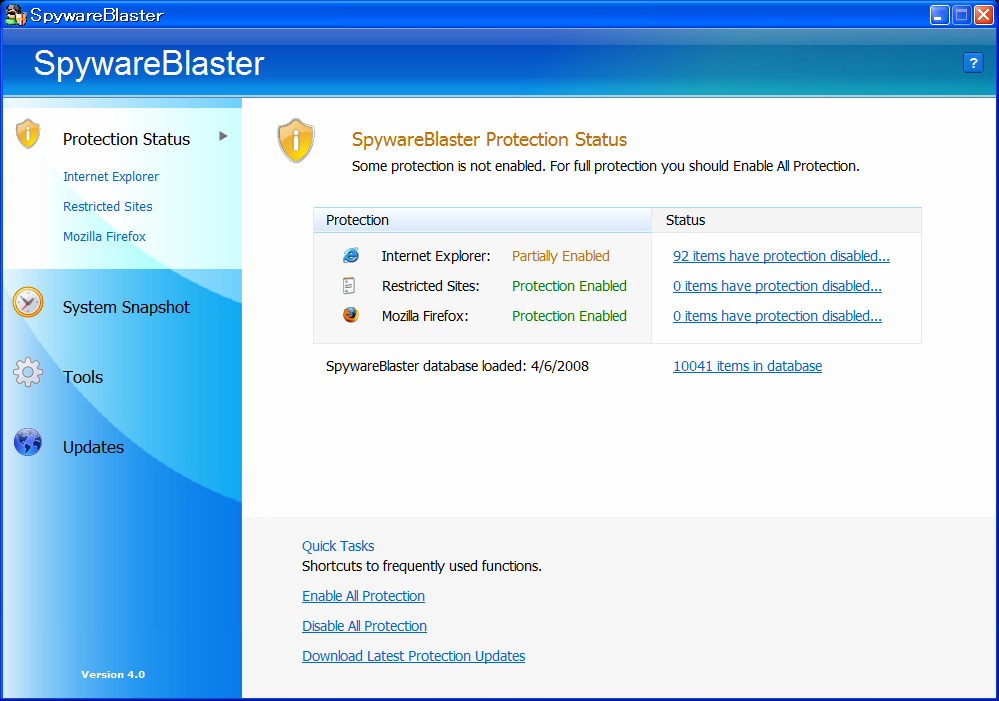 SpywareBlaster Latest Definitions: 4/6/2008