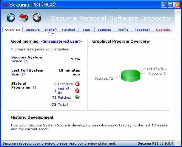 Secunia Personal Software Inspector RC3 Version 0.9.0.4