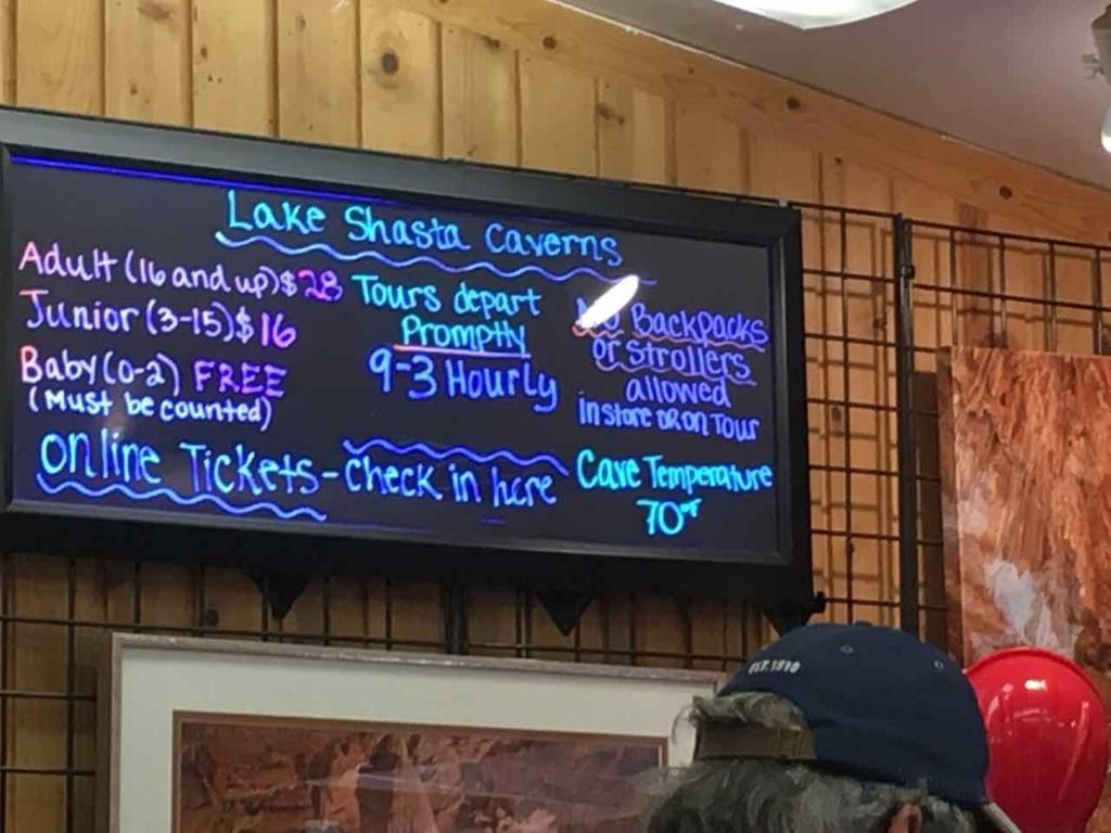 Lake Shasta Caverns観光ツアーの料金