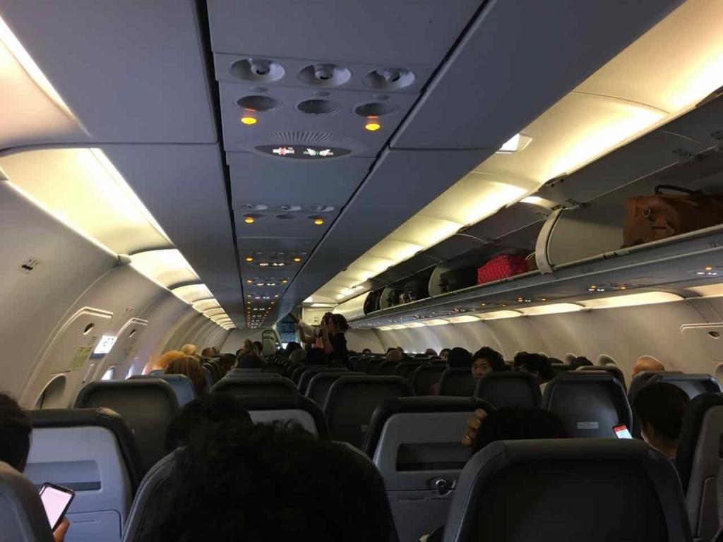 フロンティア航空の機内の様子