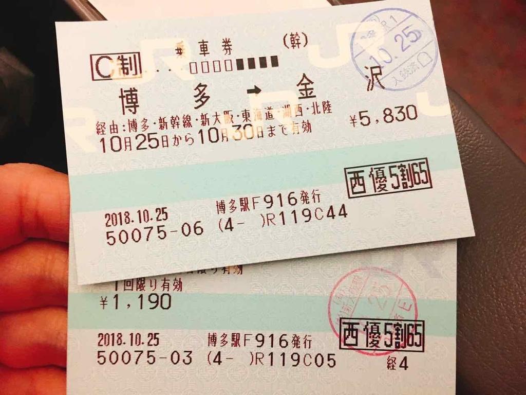 JR西日本の株主優待券を利用した乗車券