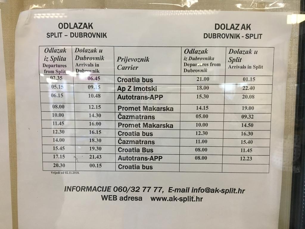 スプリット発ドブロブニク行きのバスの運行スケジュール