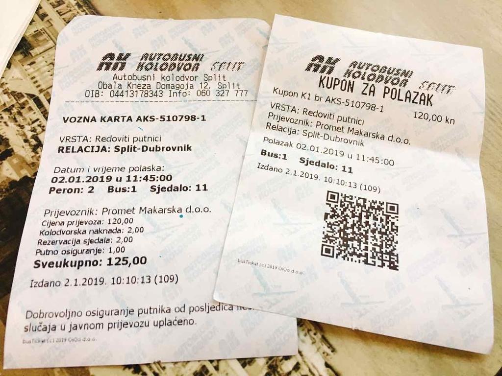 スプリット発ドブロブニク行きのバス乗車券